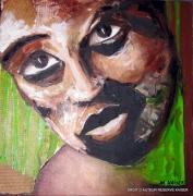 tableau personnages portrait noir afrique contemporain : GRAIN DE CAFE