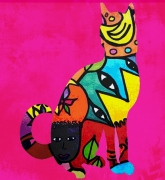 art numerique animaux chat tribal art digital : Tribal cat 2