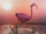 sculpture animaux flamant rose perles 3d : flamant rose en perles