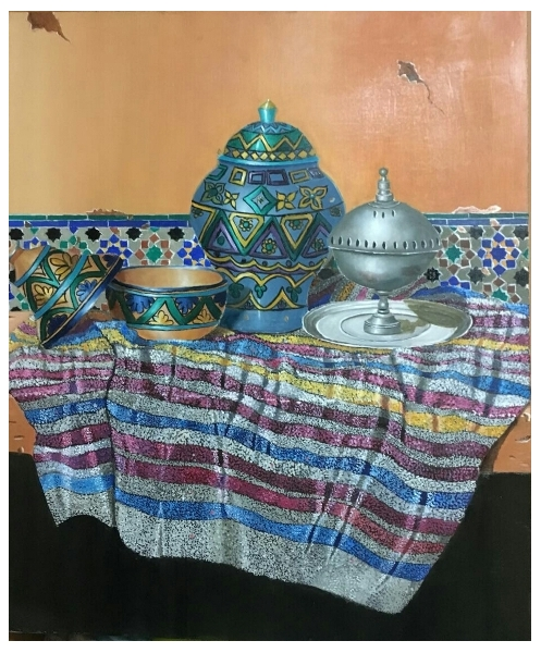 TABLEAU PEINTURE nature morte tradition maroc art Nature morte Peinture a l'huile  - Still life