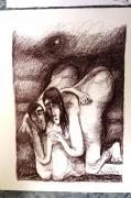 dessin personnages amour complicite stylo bille : COMPLICITÉ