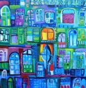 tableau villes femme solitude espoir : ATTENTE A LA FENÊTRE