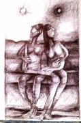 tableau personnages amour union stylo bille : ESPOIR D'AMOUR