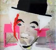 tableau personnages streetart peinture acrylique personnage plexi : Charlot aime le rose