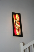 artisanat dart abstrait luminaire applique murale vitrail tiffany faitmain made in fr : Très Grande (96x35 cm) Applique murale/Tableau Lumineux en Vitra