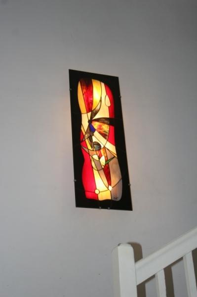 ARTISANAT D'ART luminaire applique murale vitrail Tiffany fait-main made in Fr Abstrait  - Très Grande (96x35 cm) Applique murale/Tableau Lumineux en Vitra