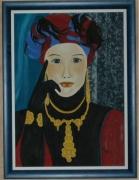 tableau personnages dame bijoux portrait : La dame aux bijoux