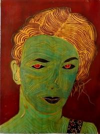Portrait de jeune femme irisé