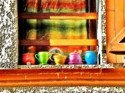 art numerique nature morte : pots à une fenêtre