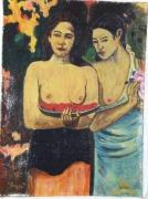 """tableau personnages filles tahiti gauguin : Paul Gauguin. """"Les Seins Aux Fleurs Rouges"""""""