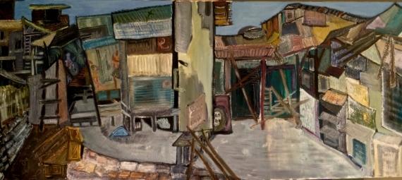 TABLEAU PEINTURE Peinture a l'huile  - Passerelle à Jakarta