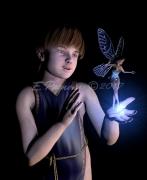 tableau scene de genre enfant fee bleu lumiere : revelation