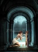 tableau scene de genre antique enfant femmes bleu : Porte vers l'iconnu