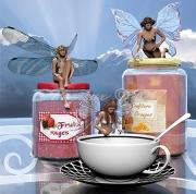 tableau scene de genre fees pot confiture ciel : Les fées gourmandes