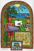 tableau scene de genre polynesie tahiti abondance amour : Prière