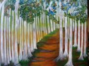 tableau paysages souvenir promenade en foret de hetres : chemîn en forêt