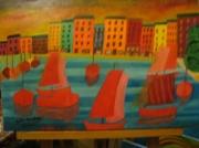 tableau marine : Port Méditerraneen