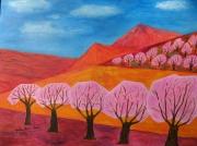 tableau paysages : Abricotiers en fleurs :