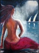 tableau marine mer personnage voiliers voyage : Invitation au voyage