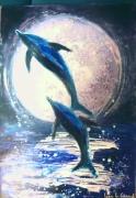 tableau animaux dauphins mer clair de lune danse : Dancing Dolphin