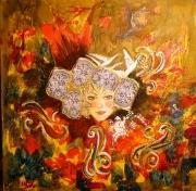 tableau personnages patrimoine bretagne costume coiffe : Le printemps de Chateauneuf