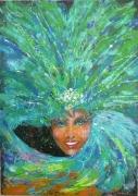 tableau personnages carnaval femme expressionisme caraibes : Fiesta