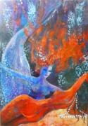 tableau scene de genre symbolisme femmes sirene mer : la Rencontre