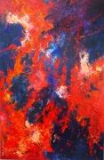tableau paysages volcan mer feu irruption : La rencontre de l'eau et du feu