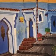 tableau architecture tableau chefchaouen maroc : Ruelle Chefchaouen