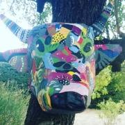 sculpture animaux vache papier mache : La vache