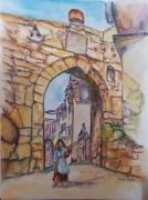 tableau scene de genre istanbul oriental porteuse d eau villageoise : La porteuse d´eau
