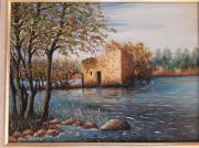 tableau paysages riviere moulin paysage decor : Au bord de la riviére de Prado