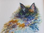 tableau animaux aquarelle original animal chat : Le beau chat