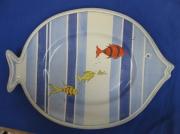 ceramique verre marine poisson marin plat lignes : plat motif poisson ligné bleu