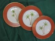 artisanat dart paysages palmier oriental porcelaine assiette : 3 assiettes palmiers