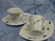 artisanat dart abstrait tasse cafe palette porcelaine unique : 1 Tasses Palette-pinceau