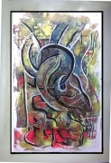 tableau abstrait abstraction expressionisme absra art brut atelier artiste : BLACK BIRD