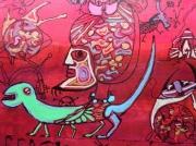 tableau personnages sultan lezard chats : Le sultan et le lézard