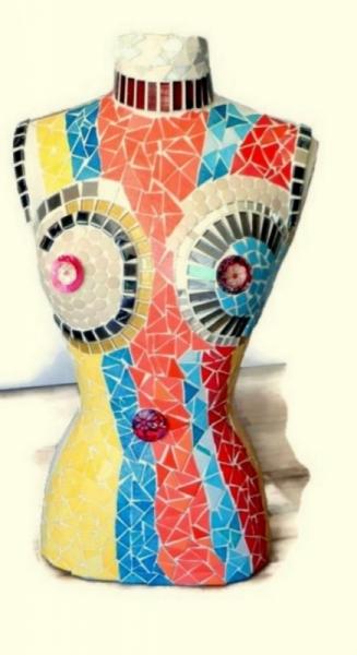 """ARTISANAT D'ART buste mannequin mannequin mosaïque mannequin vitrine buste mosaïque Nus  - Buste mannequin """"printemps"""""""