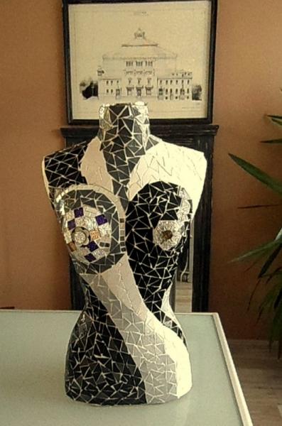 "ARTISANAT D'ART buste mannequin buste mosaïque mannequin mosaïque mannequin vitrine Nus  - Buste mannequin ""yin-yang"""
