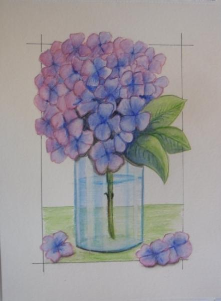 TABLEAU PEINTURE fleur hortensia aquarelle Fleurs Aquarelle  - fleur d'hortensia