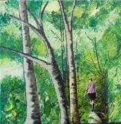 tableau paysages paysage acrylique technique mixte : Promenade en forêt