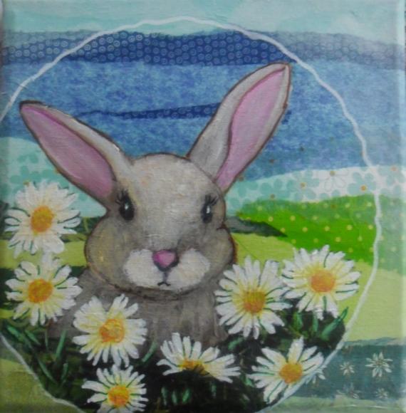 TABLEAU PEINTURE lapin animaux acrylique Animaux Acrylique  - Dans les pâquerettes