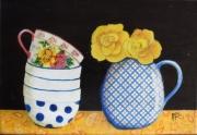 tableau nature morte tasse fleurs vase : la tasse en porcelaine