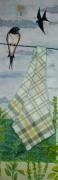 tableau paysages paysage acrylique printemps : sur le fil