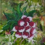 tableau fruits toile legumes botanique acrylique : Botte de radis
