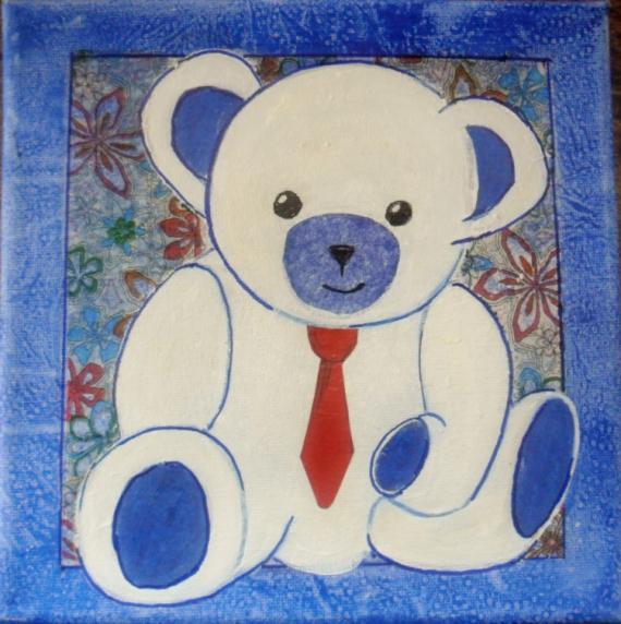 TABLEAU PEINTURE ourson peluche enfant déco Acrylique  - ourson blanc