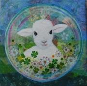 tableau animaux aquarelle animaux paysage technique mixte : l'agneau