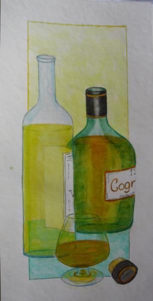 TABLEAU PEINTURE cognac bouteille aquarelle Nature morte Aquarelle  - verre de cognac