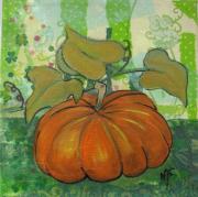 tableau fruits toile legumes acrylique technique mixte : Citrouille dodue